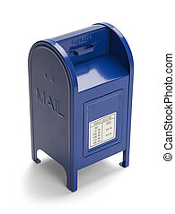 Blue Mail Box - Metal Blue Postal Mail Box Isolated on White...