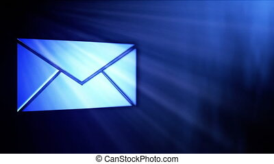 Blue Mail Icon In Sparkle Shine - background animation for home videos, vacation movies, business presentation and DVD or Blu-ray disc menus