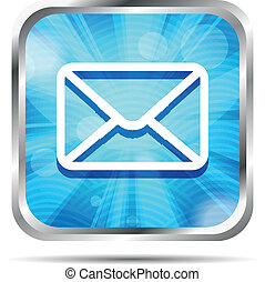 blue mail icon isolated on white