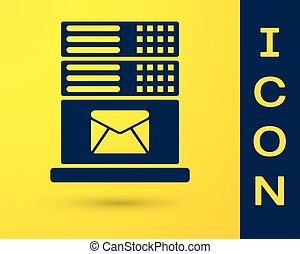 Blue Mail server icon isolated on yellow background. Vector Illustration