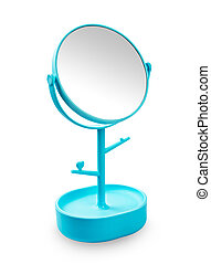 Blue makeup mirror isolated on white background.
