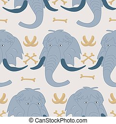 Blue mammoth in a seamless pattern design