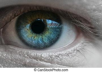 Blue man eye macro shot