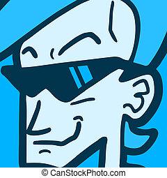 Blue man glasses