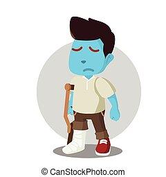 Blue man with broken leg