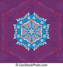 Blue mandala. Oriental design over violet background