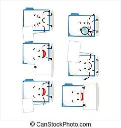 Blue manila folder cartoon character bring information board...