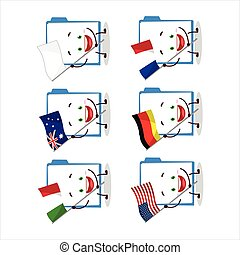 Blue manila folder cartoon character bring the flags of ...