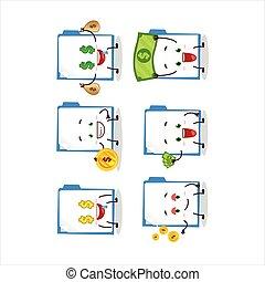 Blue manila folder cartoon character with cute emoticon ...