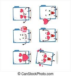 Blue manila folder cartoon character with love cute emoticon...