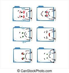 Blue manila folder cartoon character with sad expression....
