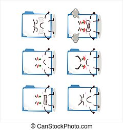 Blue manila folder cartoon character with various angry ...