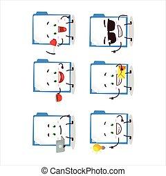 Blue manila folder cartoon character with various types of ...