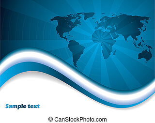 Blue map brochure