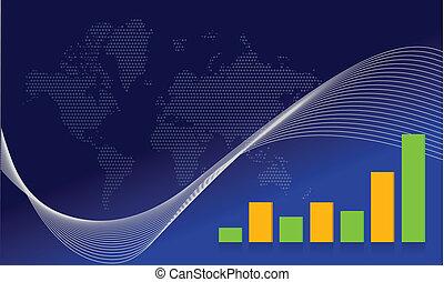 Blue map business wave background illustration