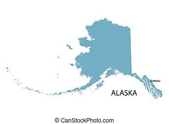 State Of Alaska Blue Low Poly Map With Capital Juneau State Of