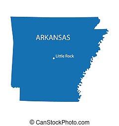 blue map of Arkansas