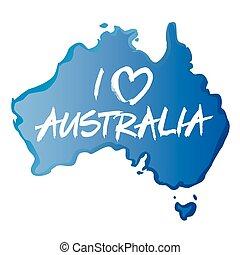 Blue map of Australia