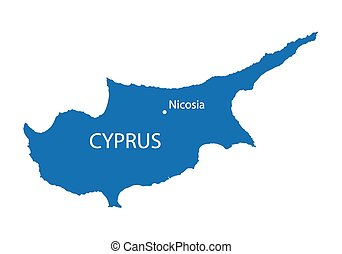 blue map of Cyprus