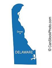 blue map of Delaware