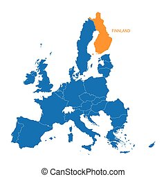 blue map of European Union with indication of Finnland