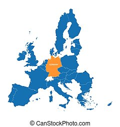 blue map of European Union with indication of Germany