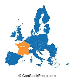 blue map of European Union with indication of largest cities