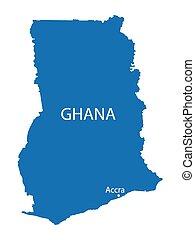 blue map of Ghana