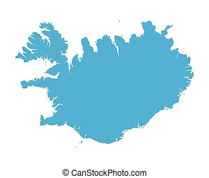 blue map of Iceland