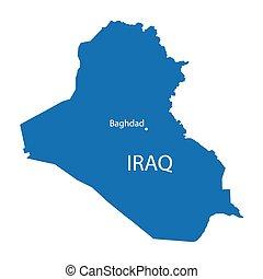 blue map of Iraq