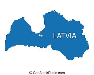 blue map of Latvia