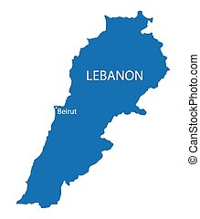 blue map of Lebanon