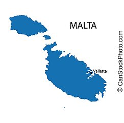 blue map of Malta