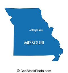 blue map of Missouri with indication of Jefferson City