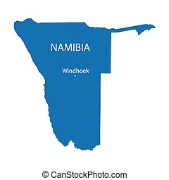 blue map of Namibia