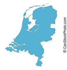 blue map of Netherlands