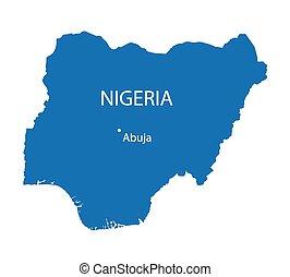 blue map of Nigeria