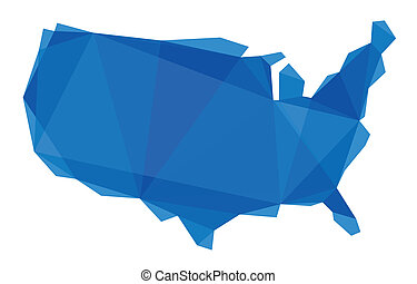 map of the USA in origami style