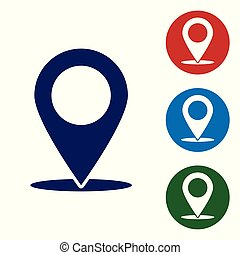 Blue Map pin icon isolated on white background. Pointer symbol. Location sign. Navigation map, gps, direction, place, compass, contact, search concept. Vector Illustration