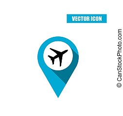 Blue map pin with airplane icon