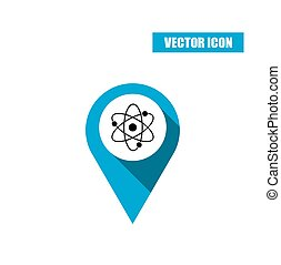 Blue map pin with atom icon isolated on white background