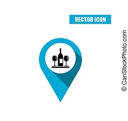 Blue map pointer icon with wine bottle and glasses
