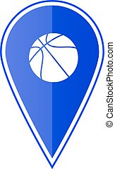 Blue map pointer with basketball. Vector illustration