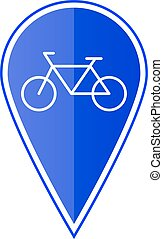 Blue map pointer with bicycle. Vector illustration