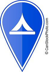 Blue map pointer with camp location. Vector illustration