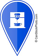Blue map pointer with coffee maker machine. Vector ...