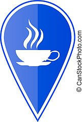 Blue map pointer with cup icon. Vector illustration