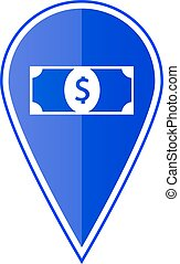 Blue map pointer with dollar icon. Vector illustration