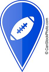 Blue map pointer with football ball. Vector illustration