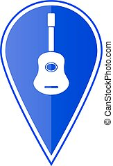Blue map pointer with guitar. Vector illustration